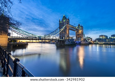 London Tower Bridge and Thames river viewed at sunrise in London, England