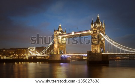 London Tower bridge and tower at night