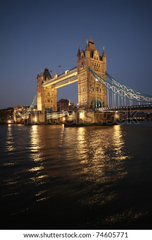 london tower bridge at night - stock photo