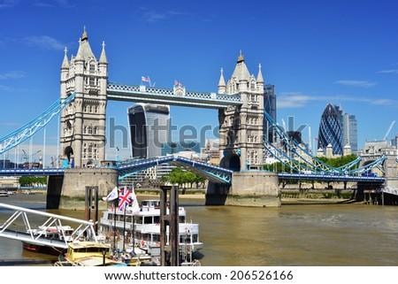 London Tower Bridge - July 3 2014 - stock photo