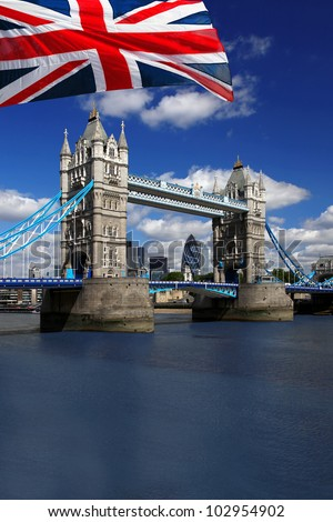 London Tower Bridge with flag of England - stock photo