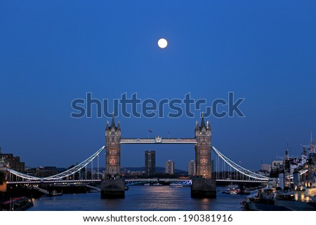 London Tower Bridge with the moon - stock photo