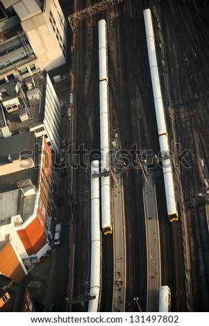 London transportation with trains, England - stock photo
