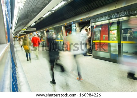 London tube train station movement  - stock photo