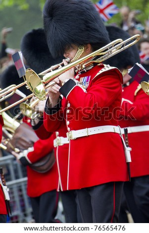 LONDON, UK - APRIL 29: A Royal Band plays music on the mall for the Royal Wedding of   Prince William and Catherine Middleton on April 29, 2011 in London, UK. - stock photo