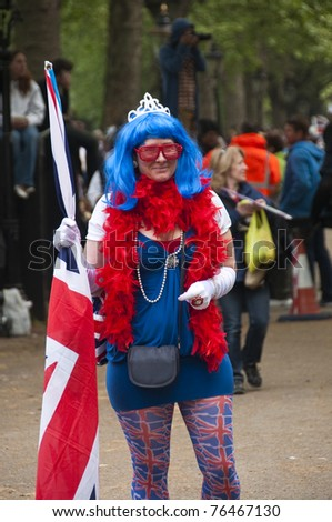 LONDON, UK - APRIL 29: A woman specially dressed for Prince William and Kate Middleton wedding, April 29, 2011 in London, United Kingdom - stock photo