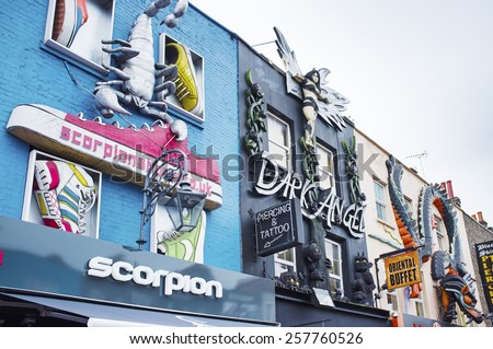 LONDON, UK -  APRIL 17, 2014: Alternative fashion shopexteriors on Camden High st. - stock photo