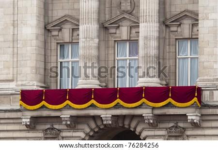 LONDON, UK - APRIL 29: Buckingham Palace balcony at Prince William and Kate Middleton wedding, April 29, 2011 in London, United Kingdom - stock photo
