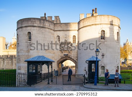 LONDON, UK - APRIL15, 2015: Entrance gate to Tower of London. - stock photo