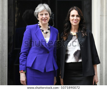 London, UK. 18 April, 2018. Prime Minister Ardern of New Zealand meets Prime Minister Theresa May at 10 Downing Street.