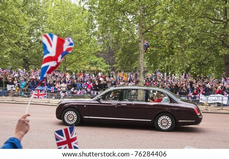 LONDON, UK - APRIL 29: Queen Elizabeth and the Duke of Edinburgh at Prince William and Kate Middleton wedding, April 29, 2011 in London, United Kingdom - stock photo