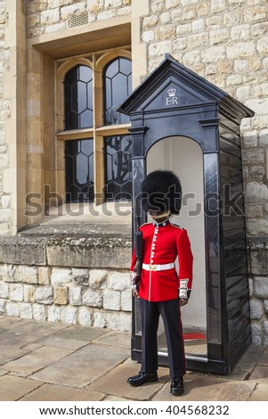 LONDON, UK - APRIL 10TH 2016: A Queens Guard at the Tower of London, on 10th April 2016. - stock photo