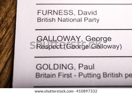 LONDON, UK - APRIL 25TH 2016: George Galloway on a ballot paper for the Mayor of London Election, taken on 25th April 2016.  Galloway is the Respect Party candidate for the 2016 London Mayor election. - stock photo