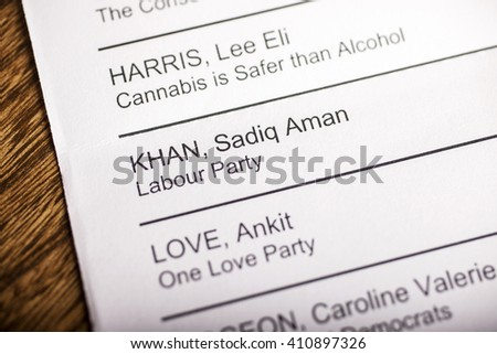 LONDON, UK - APRIL 25TH 2016: Sadiq Khan on a ballot paper for the Mayor of London Election, taken on 25th April 2016.  Sadiq Khan is the Labour Party candidate for the 2016 London Mayoral election. - stock photo