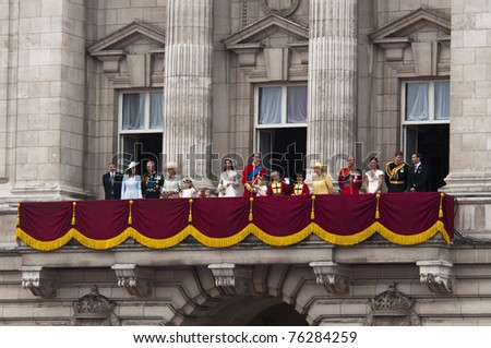LONDON, UK - APRIL 29: The royal family appears on Buckingham Palace balcony at Prince William and Kate Middleton wedding, April 29, 2011 in London, United Kingdom - stock photo