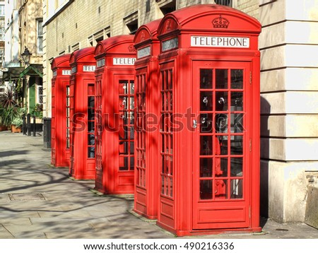London, UK, April 19, 2009 : traditional red telephone boxes in the heart of the city which in themselves are a popular tourist attraction