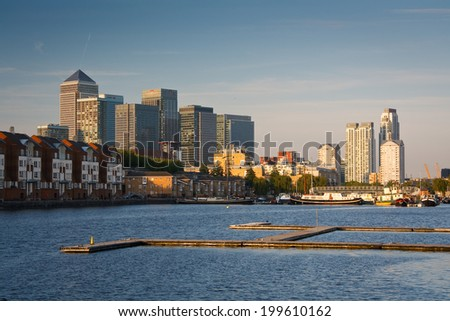 London, UK - April 5 2011: View of the Canary Wharf from Greenland Dock.