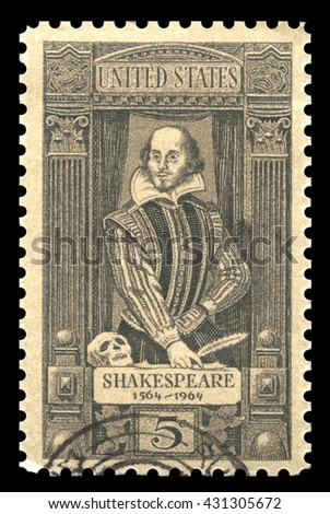 London, UK, April 20 2011 - Vintage 1964 United States of America cancelled postage stamp showing a portrait image of  William Shakespeare
