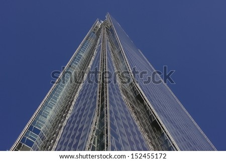 LONDON, UK - AUG 27: Renzo Piano designed 'The Shard' in London on August 27, 2013. At 310 meters the tallest building in the EU still has much available space but all should be fully let by Dec 2014.