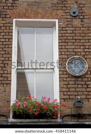 London, UK - August 16, 2010: Antonio Canal (italian painter from Venice called Canaletto) house in London. He lived here between 1746 and 1756, then returned in Venice, Italy.