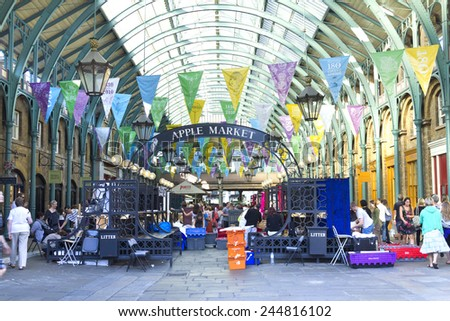 LONDON, UK, august 4, 2010: Covent Garden Market. One of the main London attractions, Covent Garden was for many years the main fruit and vegetables market in London - stock photo