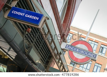 London, UK - 30 August 2016: Covent Garden station sign at the Underground station in London, England, UK. The station was opened on 11th of April 1907.