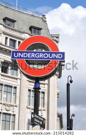 LONDON, UK - AUGUST 23, 2010: Detail of underground signage in Oxford Circus in central London (illustrative editorial)