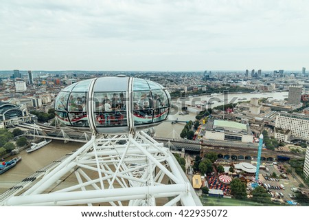 LONDON, UK - AUGUST 23, 2015: London Eye structural detail in a cloudy morning. The London Eye is giant Ferris wheel on the South Bank of the River Thames in London. Also known as the Millennium Wheel