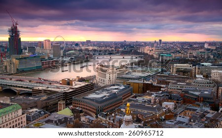 LONDON, UK - AUGUST 9, 2014. London's panorama in sunset from St. Paul cathedral. - stock photo