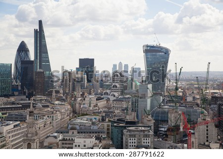 LONDON, UK - AUGUST 9, 2014 London. View on business modern district - stock photo