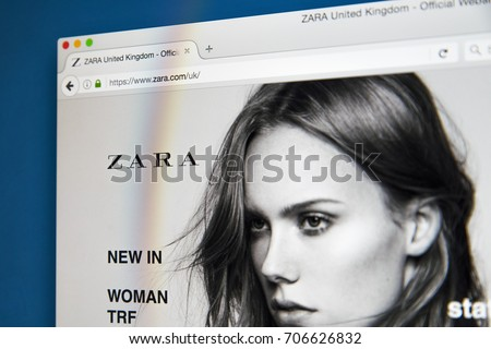 LONDON, UK - AUGUST 10TH 2017: The homepage of the official website for Zara, the Spanish clothing and accessories retailer, on 10th August 2017.