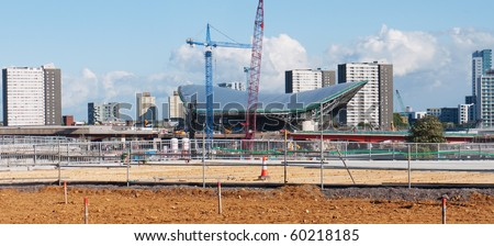 LONDON, UK-AUGUST 29: The Olympic Aquatic Center Under Construction Ready For The 2012 Olympic Games Which Will Be Held In The City Of London, August 29, 2010 - stock photo