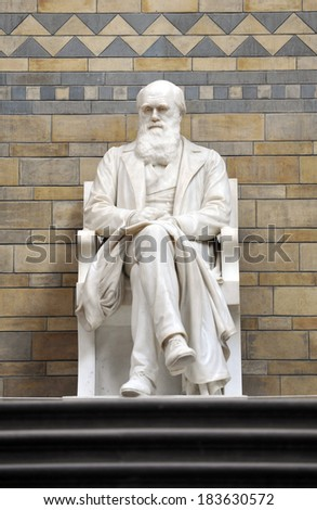 LONDON, UK - AUGUST 15, 2009: The Statue of Charles Darwin in the Natural History Museum, the statue was moved into its new position at the top of the main staircase in the Central Hall in May 2008. - stock photo