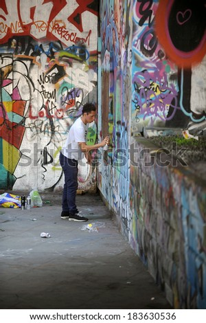 LONDON, UK - AUGUST 19, 2009: The undercroft at South Bank, Southbank skate park has been a canvas for graffiti artists for decades. - stock photo