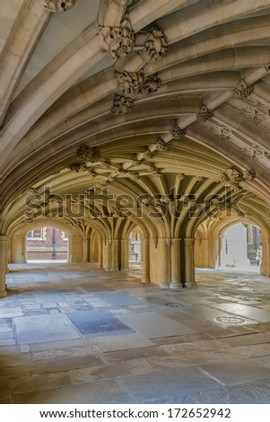 LONDON, UK - AUGUST 18, 2013: Vaulted Ceiling. Honourable Society of Lincoln's Inn is one of four Inns of Court in London, which barristers of England and Wales belong & where they are called to Bar.