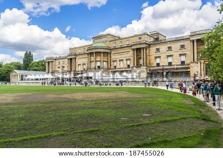 LONDON, UK - AUGUST 11, 2013: View of Buckingham Palace from courtyard - famous landmark in London. Built in 1705, Palace is official London residence and principal workplace of British monarch.