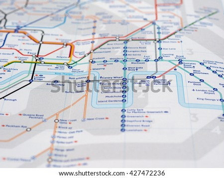 LONDON, UK - CIRCA APRIL 2016: Detail of the tube map with selective focus on Canary Wharf and Canada Water stations