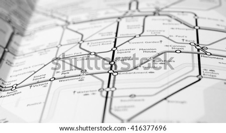 LONDON, UK - CIRCA APRIL 2016: Detail of the tube map with selective focus on Charing Cross station in black and white