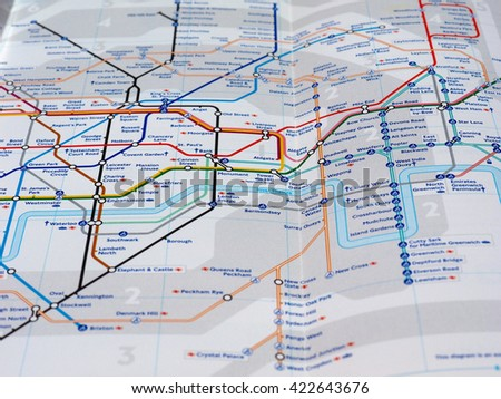 LONDON, UK - CIRCA APRIL 2016: Detail of the tube map with selective focus on Circle, District and Central lines