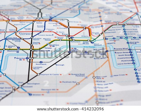 LONDON, UK - CIRCA APRIL 2016: Detail of the tube map with selective focus on London Bridge, Embankment and Temple  stations