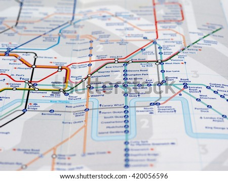 LONDON, UK - CIRCA APRIL 2016: Detail of the tube map with selective focus on Poplar and All Saints stations