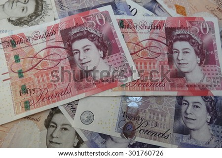 LONDON, UK - CIRCA JULY 2015: British Sterling Pound notes, currency of the United Kingdom - stock photo