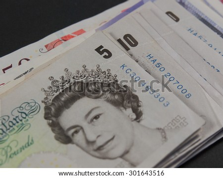 LONDON, UK - CIRCA JULY 2015: Sterling pound GBP banknotes, currency of the United Kingdom - stock photo