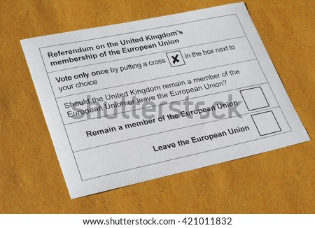 LONDON, UK - CIRCA MAY 2016: Ballot paper for June 23 referendum: Should the United Kingdom remain a member of the European Union or leave the European Union. The poll is aka Brexit - stock photo