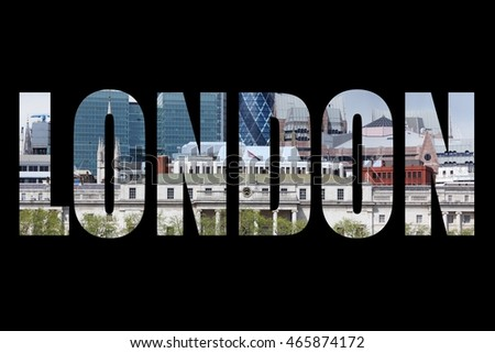 London UK - city name word with photo in background. Isolated on black.