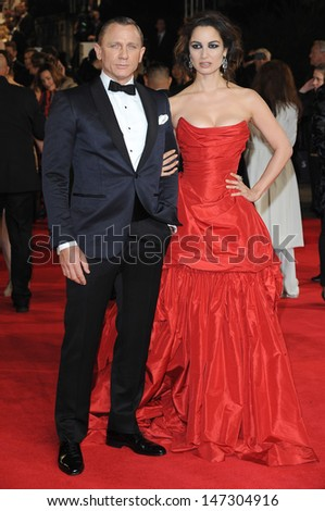 London, UK.  231012. Daniel Craig and Berenice Marlohe at the Royal World Premiere of the film Skyfall held at the Royal Albert Hall in Kensington. 23 October 2012. - stock photo