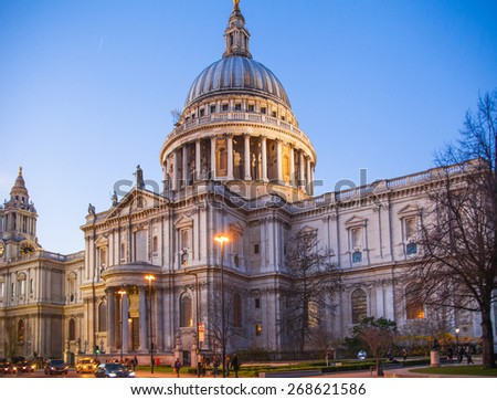 LONDON, UK - DECEMBER 19, 2014: City of London. St. Paul cathedral in dusk