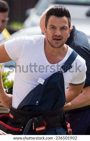 LONDON, UK - DECEMBER 09:Peter Andre filming scenes from a new tv drama in London on the December, 2014 in London, UK - stock photo