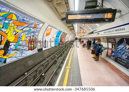 LONDON, UK - DECEMBER 31:  Underground station Kings Cross - St. Pancras. London Underground is the 11th busiest metro system worldwide with 1.1 billion annual rides. LONDON on DECEMBER 31, 2015. - stock photo