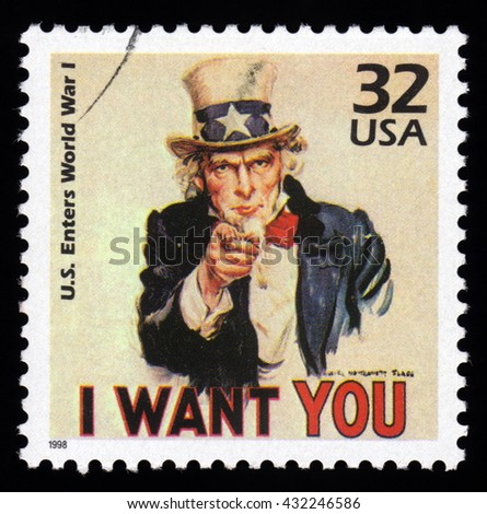 London, UK, December 4 2010 - 1998 United States of America cancelled postage stamp showing an image of  Uncle Sam from World War One  saying I want you - stock photo